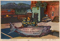 Chinook (Salmon) 4x6 Linocut & watercolor - Belinda DelPesco