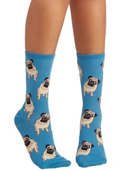 As Snug as a Pug Socks - Blue, Tan / Cream, Black, Print with Animals, Critters, Good, Casual, Knit, Dog, Top Rated