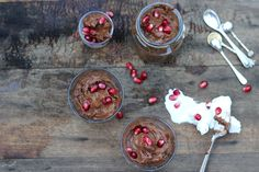 Spiced Chocolate Mousse from The Extra Virgin Kitchen Vegan Sweets, Vegan Desserts, Delicious Desserts, Vegan Food, Coconut Milk Yogurt, Avocado Mousse, Ginger Juice, Cancer Fighting Foods, Christmas Dishes