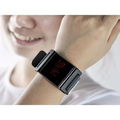 Black Strap and Red LED Wrist Watch with touch screen controllability and also able to display the time and date.