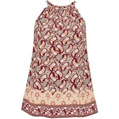 Hallhuber Sleeveless paisley top (760 EGP) ❤ liked on Polyvore featuring tops, women, rayon tops, metallic top, red sleeveless top, embellished sleeveless tops and quilted top
