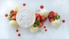 Strawberry-Rhubarb Pavlova with Basil Gelée and Vanilla Meringue.