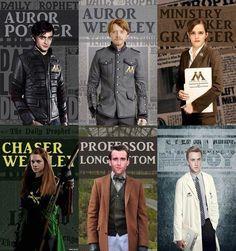 Auror Harry Potter, Auror Ron Weasly, Ministry worker Hermione Granger, Chaser Ginny Weasly, Professor Neville Longbottom, Healer Draco Malfoy