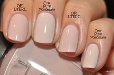 Spaz & Squee: Orly Pure Porcelain and Orly Nite Owl - neutral nails Nail Colors For Pale Skin, Neutral Nails, Neutral Wedding Nails, Pale Pink Nails, Trendy Nails, Cute Nails, Bride Nails, Manicure E Pedicure, Manicure Ideas