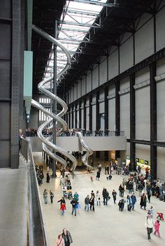 Tate Modern slide exhibit The tall slide is about 5 or 6 stories tall, and people could really ride it! London 2016, London Summer, Tate Modern London, Modern Art Museum London, Tate Museum London, Tate London, Tate Modern Art, London Museums, Contemporary Art