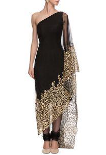 Shop Nikhil Thampi sari draped kurta set on www.azafashions.com