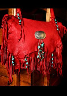 Red Leather Fringe Purse