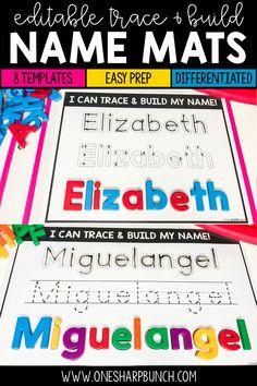 Name Practice Trace & Build Mats Editable 1st Grade Activities, Pre K Activities, Reading Activities, Preschool Names, Preschool Writing, Teacher Wish List, Teacher Tips, Teaching Tools, Teaching Resources