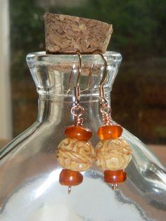 Carved Bone and Golden Horn Beaded Dangle Hook Earrings