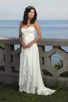 Criss Cross Chiffon A-line Brush Train Draping Sweetheart Wedding Dress  #wedding #dress #gown