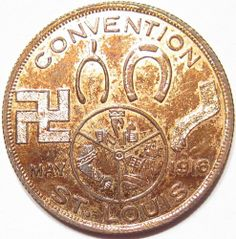 1916 HIRSCH & Co. CHICAGO, IL ST. LOUIS CONVENTION pre-Nazi SWASTIKA LUCK Token