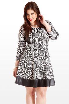 Minds Eye Aztec Faux-Leather Plus Size Dress