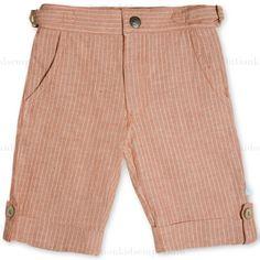 Fore!! Axel & Hudson Orange Linen Stripe Shorts: Designer Kids Clothes | Shop our Boutique for Cool Children's Clothing