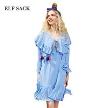 Elf sack 2017 verão chiffon vestidos de mulheres plus size plissado vestidos feminino one-piece ruffles collar casual dress para partido(China (Mainland))