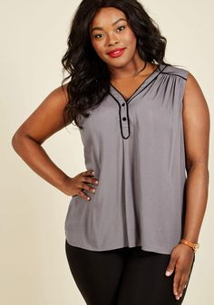 summer  fashion  AdoreWe  ModCloth Womens - ModCloth Cafe au Soleil  Sleeveless Top in Charcoal - AdoreWe.com 975d9ebed8bc