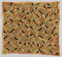 Africa | Raffia pile cloth from the Kuba people of DR Congo | ca. 1900 - 1930 | Raffia; plain woven, cut pile stitch, embroidered.