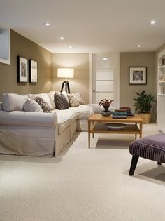 Love this for a basement. Cozy and Clean. Makes being under ground light and not dark.