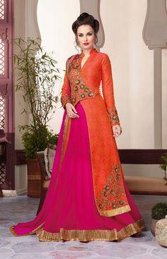 Magenta designer lehenga with long orange jacket style choli #LehengaCholi…