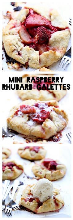 Mini Raspberry Rhubarb Galettes: amazing flaky, crispy crust with a tart raspberry-rhubarb filling. Perfect summer dessert! | TrufflesandTrends.com