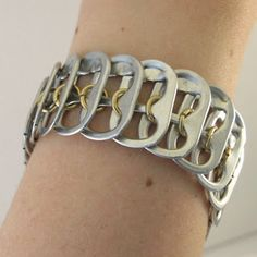 Tabsolute: day 113. listing brass pop tab chainmaille in the middle bracelet