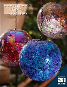 Night Garden -Solar Hanging Gazing balls from Evergreen