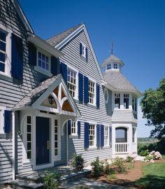 Shingled beauty ~ grey shakes and marine blue shutters