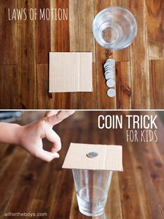 Laws of motion coin trick for kids