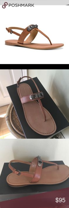 """COACH """"GRACIE"""" SANDALS Brand new in box. Authentic Coach Gracie Sandals.   An engraved, turnlock adorment adds signature COACH style to this summer sandal. Adjustable ankle strap with buckle closure. Leather upper/synthetic lining and sole.  TRADESLOWBALL 1st photo is a stock photo. Coach Shoes Sandals"""