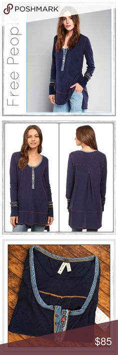 "✨Free People Blue Dallas Henley Tunic✨ ✨Free People We The Free Blue Dallas Henley✨Perfect for everyday wear, this cotton Henley features a placket with multi-shape decorative snap buttons✨Banded sleeve cuffs with a subtle striped print and exposed seaming create a lived-in look✨High low hem and side vents✨Relaxed, comfortable fit✨100% Cotton✨Approx Measurements: Chest (armpit to armpit seam)-22.5✨Length- Low-30""/High-33""✨Awesome Super-Soft, Lovable Tunic✨NWT✨Size Large✨ Free People Tops…"