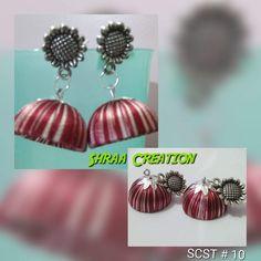 Two colour earrings, handmade jewellery, silk thread earrings with stud  Shraa Creation
