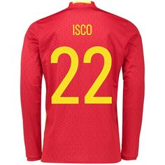 Spain Home Shirt 2016 - Long Sleeve Red with Isco 22 printing