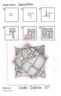 Squavolution~Zentangle by Sandra Chatelain