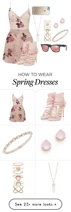 """""""Spring"""" by noafyf on Polyvore featuring Lipsy, Casetify, New Directions, Accessorize, Kate Spade, Marchesa and Ray-Ban"""