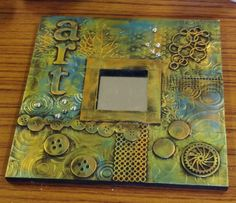 Karen Clare, Craft and Design, creativity without boundaries. Altered Canvas, Altered Art, Mixed Media Canvas, Mixed Media Art, Stencils, Art Projects, Projects To Try, Ikea Mirror, Arte Country