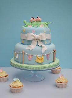 Twin Baby Shower Cake #Twins