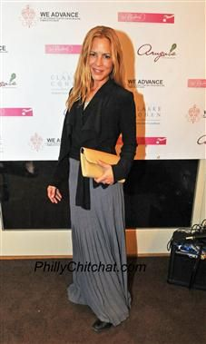 Maria Bello with her Jill Milan Chelsea Clutch.  Maria Bello is at a fundraiser in Philadelphia to raise money for We Advance.  We Advance aids women in Haiti.  More can be seen about them at http://weadvance.org.