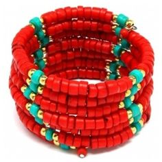 Abena's Coral Red and Turquoise Beaded Coil Wrap Bracelet by lenora