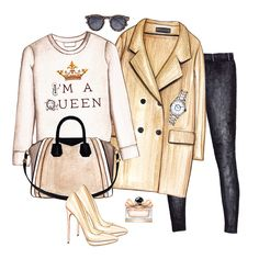 Outfit collage. Doll Memories fashion sweatshirt, camel coat, black jeans, nude pumps, Givenchy bag