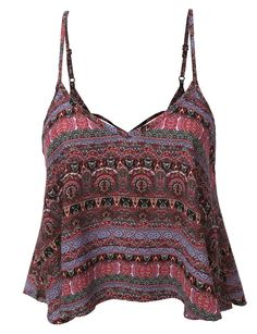 LE3NO Womens Flowy Chiffon Printed Strappy Crop Top