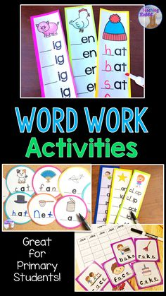 These word work activities are useful for teaching  Word Families, Beginning and Ending Sounds, Beginning Blends & Digraphs, and CVCe Words.  These centers are great for small group instruction, morning tubs, early finishers, or intervention. Laminate each center and have students write on the cards with dry erase markers.  Best for first grade (1st grade) but can also be used in kindergarten or with second graders! First Grade Activities, Word Work Activities, Vocabulary Activities, Kindergarten Activities, Writing Activities, Educational Activities, French Language Learning, Language Arts, Learning Spanish