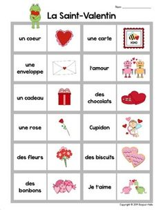 La Saint-Valentin: French Valentine's Day Dominoes Game an Valentines Art Lessons, Valentines Day Words, French Tenses, Communication Orale, French For Beginners, French Worksheets, Kindergarten Language Arts, French Classroom, French Resources