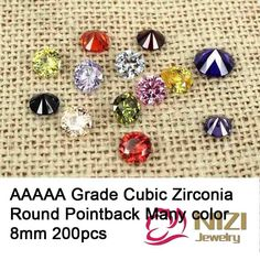 8mm 200pcs Luxury Cubic Zirconia Beads For DIY Accessories Round Shape AAAAA Grade Pointback Stones 3D Nail Art Dcorations #Affiliate