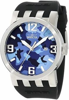 Invicta 10456 Men's Watch DNA Blue Camouflage Dial Black Silicone