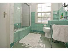 Vintage / retro bathroom...mint green / aqua tile and fixtures my dream bathroom
