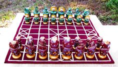 "Traditional Indian Chess Set w Decorative Figures Hand Painted K 4"" 566 