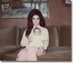 Priscilla, with Lisa Marie, 7 weeks and 1 day old.  Elvis Presley's wife and child. (1/21/2014)  People  (CTS)