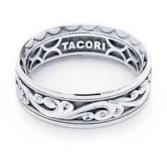 Tacori Mens Wedding Band With Hand Engraved Scroll Work 7 0mm This Men S Showcases Signature Three Dimensional Engra