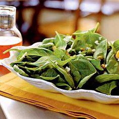 Spinach Salad with Gorgonzola, Pistachios, and Pepper Jelly Vinaigrette Recipe | MyRecipes.com