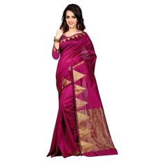Attractive Magenta Color Cotton Silk Printed Kanchivaram Saree at just Rs.1080/- on www.vendorvilla.com. Cash on Delivery, Easy Returns, Lowest Price.