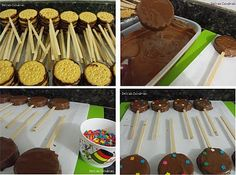 Pirulito de chocolate, pirulito recheado, pirulito para festa, pirulito biscoito maria ok